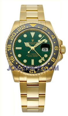 Rolex GMT Master II Green Index Dial Oyster Bracelet 18k Yellow Gold Mens Watch 116718GSO $28262.50