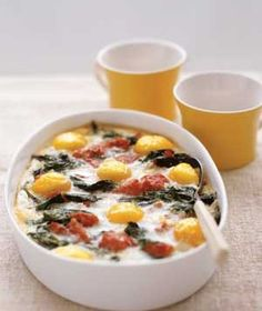 Baked Eggs With Spinach & Tomatoes. If you wish to bake these in single potions, simply bake in a ramekin, at 400 degrees for 12 minutes.