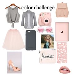 """""""peachalicous"""" by layla-pink ❤ liked on Polyvore featuring Ballet Beautiful, Liliana, Miss Selfridge, New Look, Fujifilm, ZeroUV, OtterBox, colorchallenge and grayandpeach"""
