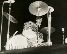 September 11, 1964 Ringo Starr's drums were tied to the stage at the Gator Bowl to prevent them from toppling over in the high winds. (Vern Barchard/State Archives of Florida)