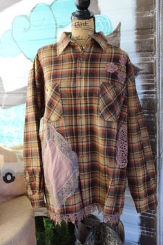 Brown Plaid Flannel Shirt with Lace, Shirt with Vintage Lace and Hankies , Upcycled Shirt, Gypsy, Boho Style, Extra Large, XLG, Rustic FF41 by…