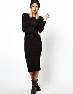 Image 1 of ASOS Midi Ribbed Body-Conscious Dress With Long Sleeve