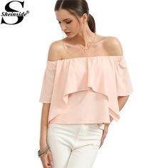 Pink Off The Shoulder Ruffle Shirts Women's Summer Fashion Tops Plain Half Sleeve Loose Blouse