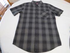 Men's Quiksilver Native Thoughts SS short slv button up shirt S KQC1 black plaid