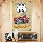 Route 66 Red Motorcycle Mother Road Metal Sign_D