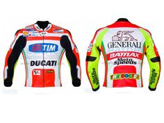 via Valentino Rossi Ducati Corse Leather Jacket Replica jacket designed from the Valentino Rossi Ducati Corse Race suit when he took part in the MotoGP Championship with team Ducati.