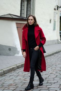 red coat combat boots outfit