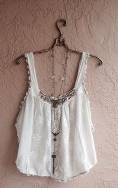 Image of Rare Free People NEW ROMANTICS  Embellished beaded crochet summer gypsy camisole