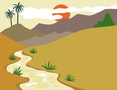 Printable puppet background for preschoolers to use in Kiddie Tales day 2--the desert