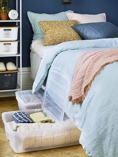 Plastic bins on wheels with lids and labels are great for under the bed storage / organization. Click the pin for more ideas!