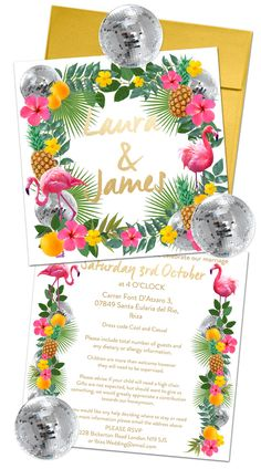 Ibiza wedding invite complete with disco ball stickers, tropical flowers, flamingos and pineapples.
