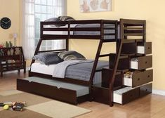 Reece Twin Over bunk bed with storage ladder and trundle bed - bunk beds Bunk Beds Small Room, Bunk Beds For Girls Room, Bunk Beds With Storage, Wood Bunk Beds, Modern Bunk Beds, Bunk Beds With Stairs, Kids Bunk Beds, Bed Storage, Small Rooms