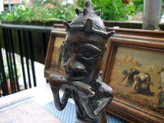 Bronze Figur Afrika Kunst Benin Königsfigur