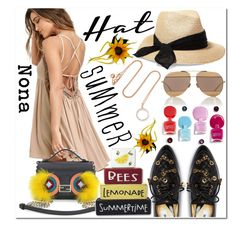 """""""Summer Hat"""" by delunaray ❤ liked on Polyvore featuring Monica Vinader, Eugenia Kim, Moschino, Breckelle's, Fendi, Christian Dior and summerhat"""