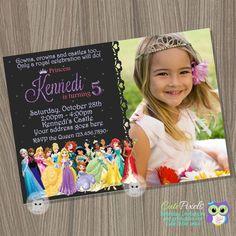 Disney Princess Invitation, Princess Birthday Invitation, Disney Princess Party, Princess Invitation, Disney Princess, Princess Birthday by CutePixels on Etsy