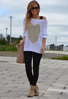 Cutest and easiest look: sweater with black leggings and booties.