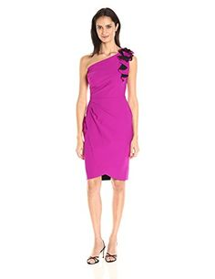 Alex Evenings Womens OneShoulder Cocktail Dress BlackFuchsia 8 -- More info could be found at the image url.