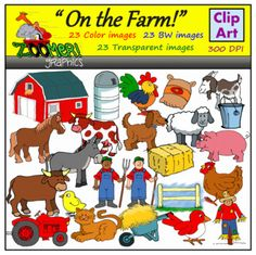 This on the farm clipart set includes a total of 70 images with all kinds of farming animals  and tools! #ZoomerGraphics