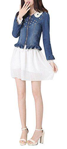 ad79a35eab0666 Oberora Women Sweet Lace Stitching Full-Zip Long Sleeve Denim Jacket Dark  Blue L