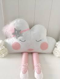 This cloud cushion will look super cute sitting on a little girls bed or shelf. She is a sassy little madam with her sparkly headband and ballerina shoes. She is completely hand cut from felt. Her fa(Diy Pillows Cloud) Cloud Cushion personalised pillow - Baby Crafts, Felt Crafts, Diy And Crafts, Little Girl Beds, Cute Little Girls, Sewing Crafts, Sewing Projects, Cloud Cushion, Personalized Pillows