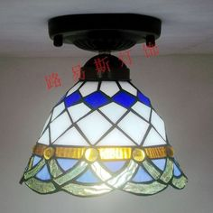 78.60$  Buy now - http://ali3pe.shopchina.info/go.php?t=1487946604 - Factory Direct handsome blue corridor lighting modern kitchen balcony Tiffany glass ceiling decorated aisle Mediterranean 78.60$ #magazineonline