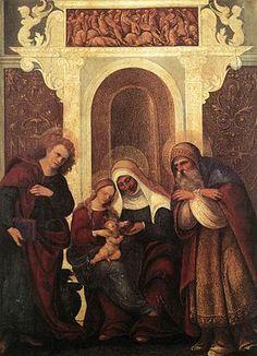 Madonna col Bambino e santi AutoreLudovico Mazzolino Data1523-1523 circa Tecnicaolio su tavola Dimensioni29,5 cm × 22,8 cm  UbicazioneUffizi, Firenze