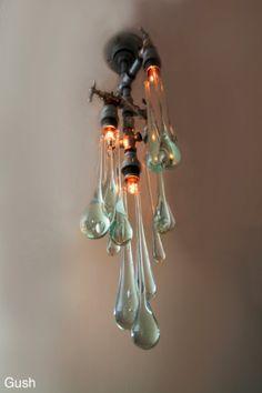 Murano Glass drops in Ebay - vintage light fixture - voilá !!      Liquid light fixtures.