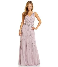 Adrianna Papell Faux Wrap Beaded Gown