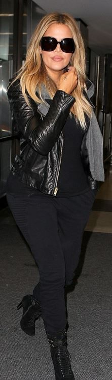 Khloe Kardashian: Jacket – Balenciaga  Pants – Venus X Mars Buck  Bag – Chanel  Shoes – Kardashians For Bebe