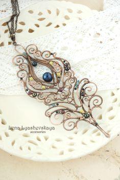 """Pendant """"MAGIC FEATHER BIRDS"""" Pearl, garnet, tourmaline, cat's eye, Czech glass, copper"""
