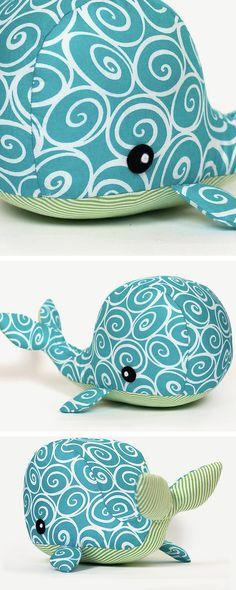 DIY tutorial: Sew a Whale Soft Toy  via en.DaWanda.com