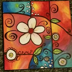 Growth Easy Canvas Painting, Fabric Painting, Diy Painting, Canvas Art, Folk Art Flowers, Flower Art, Bird Template, Little Buddha, Colorful Paintings