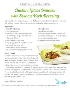 Chicken Lettuce Bundles with Sesame Herb Dressing
