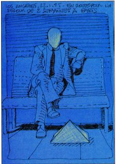 "Moebius ""Los Angeles - Jan. 22th 1985  On my way for a stay of two weeks in Paris"""