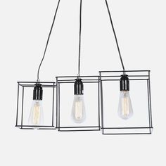 Featuring 3 metal square frames, this pendant light handmade by Nolden Bros, emits a cubist aesthetic that'll add a minimalist tone to a room. The design is composed of three frames, each with a pendant light inside. Track Lighting, Minimalist, Ceiling Lights, Pendant, Metal, Frame, Design, Home Decor, Picture Frame