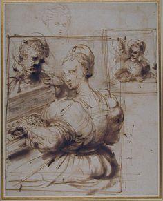 Perino del Vaga (Pietro Buonaccorsi), 1501-1547, Italian, Lady at the Virginals, 16th century.  Pen and brown ink drawing.  Ashmolean Museum, Oxford.  High Renaissance, Mannerism.