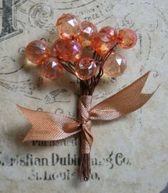 Blushing Apricot Lucite Wired Wedding Stamen by juliecollings