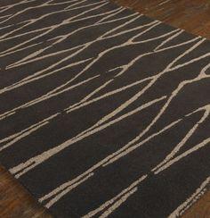 Uttermost Rug Temara 8' X 10' Dark chocolate wool in a medium cut pile with beige details.