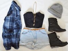 plaid, combat boots, beanie, short shorts, this whole outfit spells summer 2013 Fashion Moda, Fashion Killa, Teen Fashion, Love Fashion, Autumn Fashion, Womens Fashion, Style Fashion, Fashion Outfits, Fall Outfits