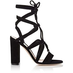 Gianvito Rossi Women's Lace-Up Gladiator Sandals ($499) ❤ liked on Polyvore featuring shoes, sandals, heels, black, gladiator sandal, high-heel gladiator sandals, black suede sandals, suede gladiator sandals and high heeled footwear