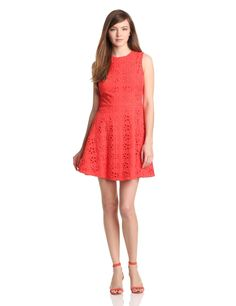 Cynthia Steffe Women's Hailey Floral Eyelet Dress, Coral Rose
