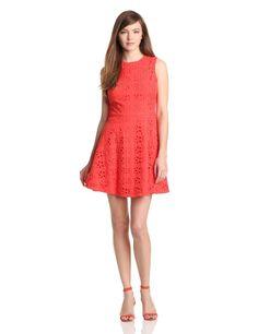 Cynthia Steffe Women's Hailey Floral Eyelet Dress, Coral Rose