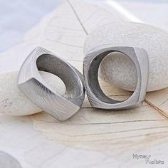 Square Wedding Ring, Men ring - Hand forged stainless Damascus steel wedding ring - Kumali