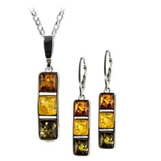 Sterling Silver Multicolor Amber Square Leverback Earrings Necklace Set Rolo Chain 18 Inches GRACIANA. $49.00. Traditionally our designs manufactured in silver and amber. All amber jewelry designs are from Eastern Europe