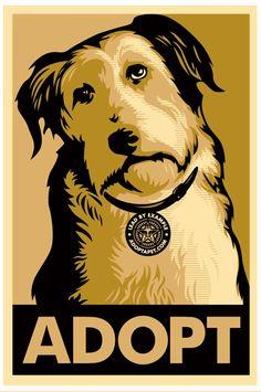 Adopt A Pet Sticker by Shepard Fairey