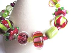 Bracelet Raspberry Pink and Lime Green Lampworked by EtsyBetsyBits