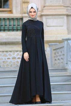 2018 New Season Evening Dress Collection - Neva Style - Pleated Black Hijab Evening Dress Muslim Evening Dresses, Hijab Evening Dress, Hijab Dress Party, Muslim Dress, Black Evening Dresses, Hijab Fashion 2016, Abaya Fashion, Muslim Fashion, Fashion Dresses