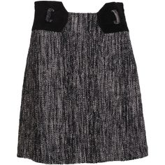 Pre-owned Milly Tweed and Suede Skirt ($74) ❤ liked on Polyvore featuring skirts, mini skirts, black, black tweed skirt, short a line skirt, short skirts, black miniskirt and black skirt