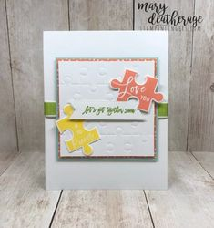 Love You To Pieces stamp set – Stamps – n – Lingers Love You To Pieces, Paper Craft Making, Hand Stamped Cards, Stampin Up Catalog, Love Valentines, Stamping Up, Puzzle Pieces, Greeting Cards Handmade, Stampin Up Cards