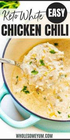 An EASY keto white chicken chili recipe that's creamy, cheesy, and flavorful! No one will guess this is low carb chicken chili, with just 4g net carbs per serving. #wholesomeyum Low Carb Soup Recipes, Real Food Recipes, Keto Recipes, Easy Chicken Chili, White Chicken Chili, Cheeseburger Chowder, Paleo, Lunch, Meals